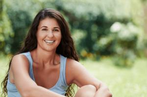 Woman smiling during spring